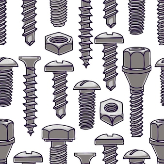 Süßes nahtloses muster mit schrauben und muttern. handgezeichnete illustration