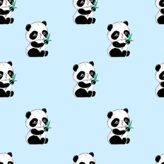 Süßes nahtloses muster von panda und bambus.