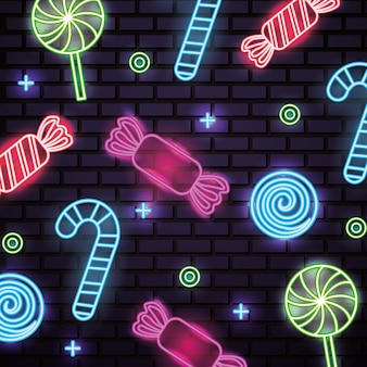 Süßes nahtloses neonmuster der süßigkeit