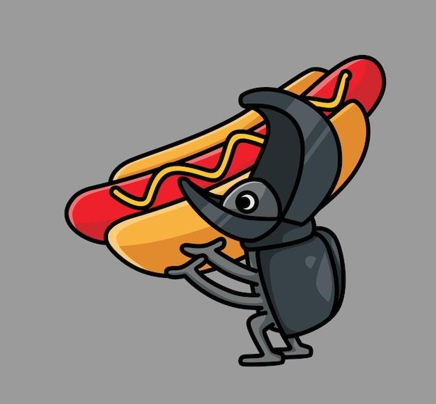 Süßes nashorn bringt hot dog. cartoon tiernahrung konzept isolierte abbildung. flacher stil geeignet für sticker icon design premium logo vektor. maskottchen-charakter
