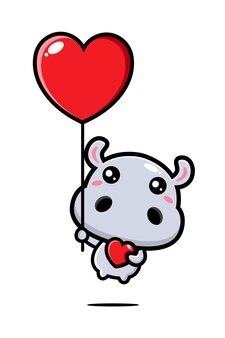 Süßes nilpferd fliegt mit luftballons
