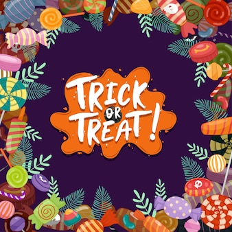 Süßes oder saures, bunte halloween-süßigkeiten für kinder. süßigkeiten mit halloween-elementen verziert