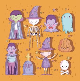 Süßes oder saures glücklicher halloween-zeichensatz