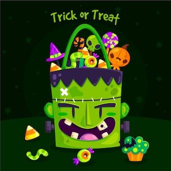 Süßes oder saures halloween frankenstein tasche