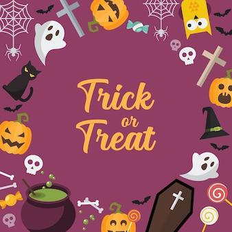 Süßes oder saures halloween hintergrund. halloween-party-grußkarte. illustration