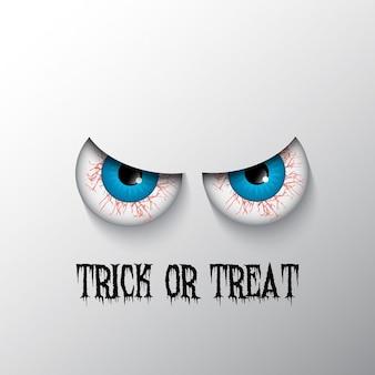 Süßes oder saures halloween-hintergrund mit bösen augen