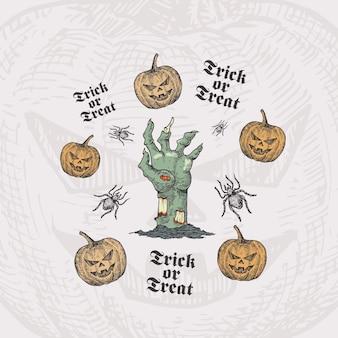 Süßes oder saures halloween-kartenschablone mit zombiehand, kürbissen und spinnen