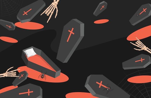Süßes oder saures halloween-partyhintergrund särge spinnen und skelette