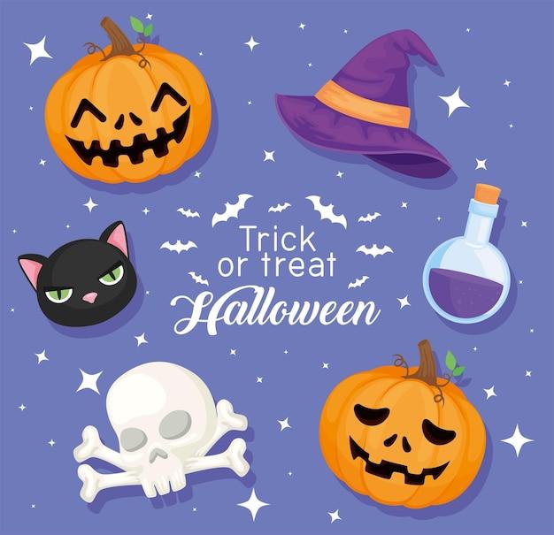 Süßes oder saures halloween-symbole