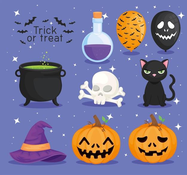 Süßes oder saures halloween-symbolsammlung