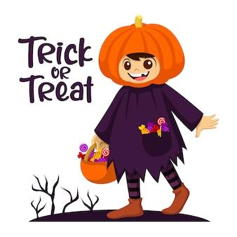 Süßes oder saures. kleines mädchen mit kürbis auf einem halloween-kostüm