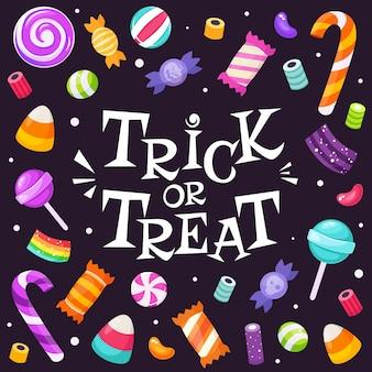 Süßes oder saures. satz halloween-süßigkeiten und bonbons. im flachen stil.