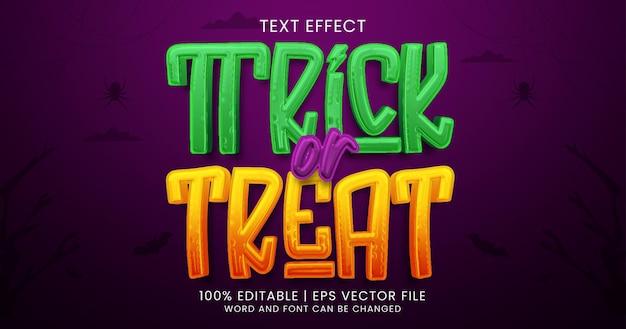 Süßes oder saures text, bearbeitbarer texteffektstil für horror-cartoon