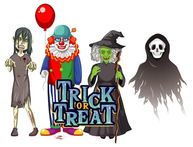 Süßes oder saures textdesign mit halloween-geisterfiguren
