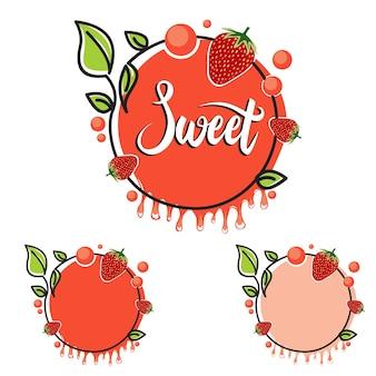 Süßes orangen-rechteck-erdbeerfrucht