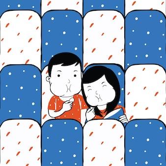 Süßes paar, das einen film im cartoon-stil anschaut