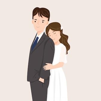 Süßes paar im hochzeitskleid illustration