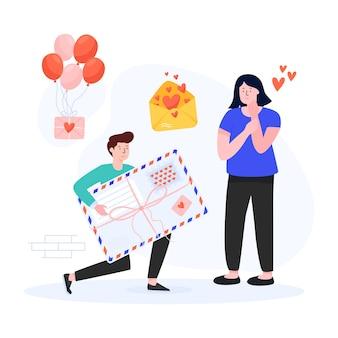 Süßes paar mit flacher illustration der ballone
