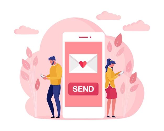 Süßes paar senden liebesbrief miteinander per telefon glücklicher valentinstag smartphone mit sms, e-mail