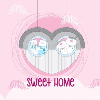 Süßes paar tier auf liebeshaus