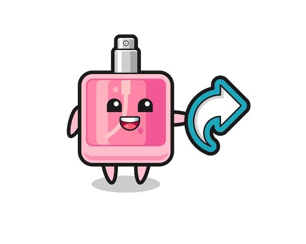 Süßes parfüm hält social-media-share-symbol, niedliches design für t-shirt, aufkleber, logo-element