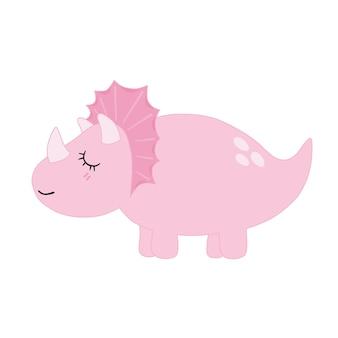 Süßes pastell-triceratops-rosa-dino-lächeln mit augenschließen auf weißem hintergrund. minimale flache karikaturillustration. vektor.