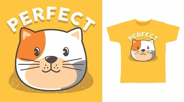 Süßes perfektes katzen-t-shirt-design