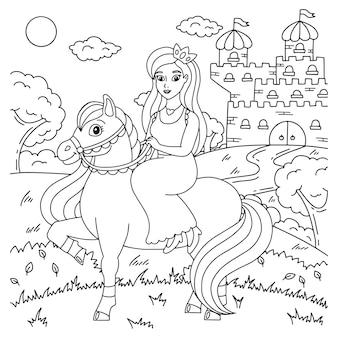 Süßes pferd mit prinzessin nutztier malbuchseite für kinder