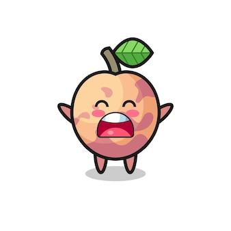 Süßes pluot-frucht-maskottchen mit einem gähnen-ausdruck, süßes design für t-shirt, aufkleber, logo-element