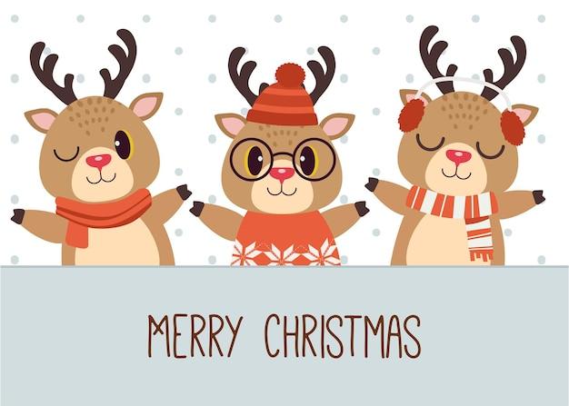Süßes rentier, das frohe weihnachten wünscht