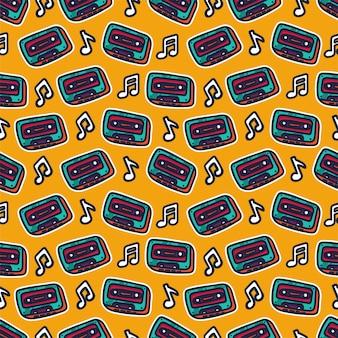 Süßes retro-musikthema mit kassette nahtlose muster