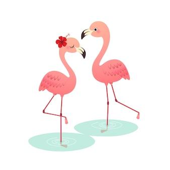 Süßes rosa flamingo-paar der karikatur, das auf wasser steht.