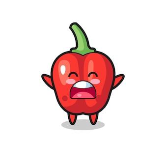 Süßes rotes paprika-maskottchen mit einem gähnen-ausdruck, süßes design für t-shirt, aufkleber, logo-element