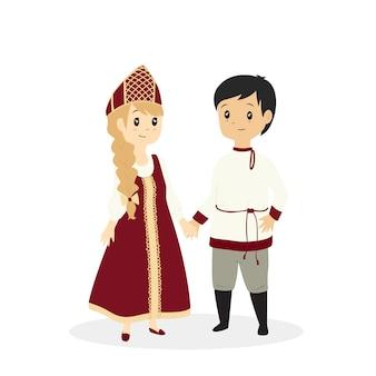 Süßes russisches paar in traditioneller kleidung, karikatur