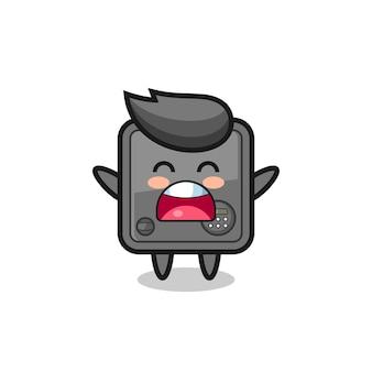 Süßes safe-box-maskottchen mit einem gähnen-ausdruck, süßes design für t-shirt, aufkleber, logo-element