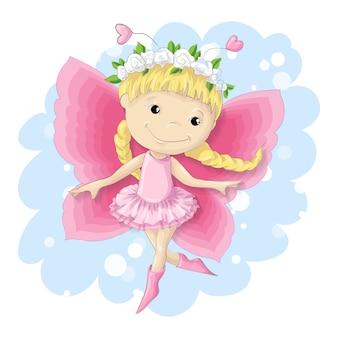 Süßes schmetterlingsmädchen in einem rosa kleid.