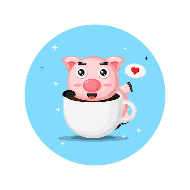 Süßes schwein auf einer kaffeetasse