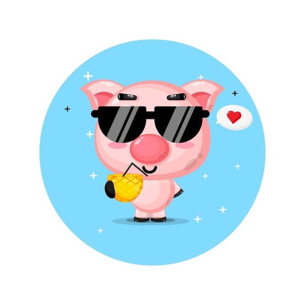 Süßes schwein bringt ananassaft
