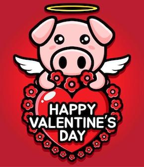 Süßes schwein, das ein herz mit glücklichen valentinstagsgrüßen umarmt