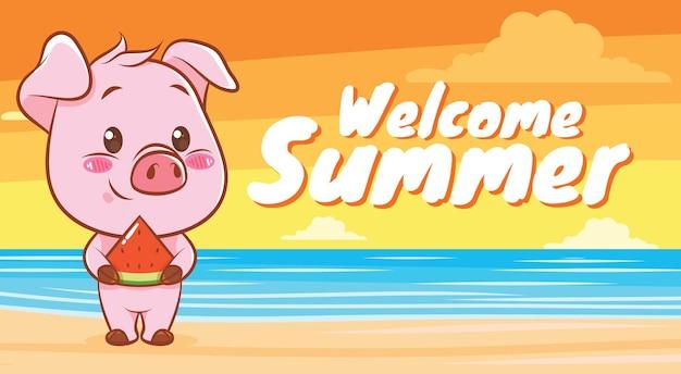 Süßes schwein, das eine scheibe wassermelone mit einem sommergrußbanner hält