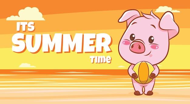 Süßes schwein, das einen strandball mit einem sommergrußbanner umarmt