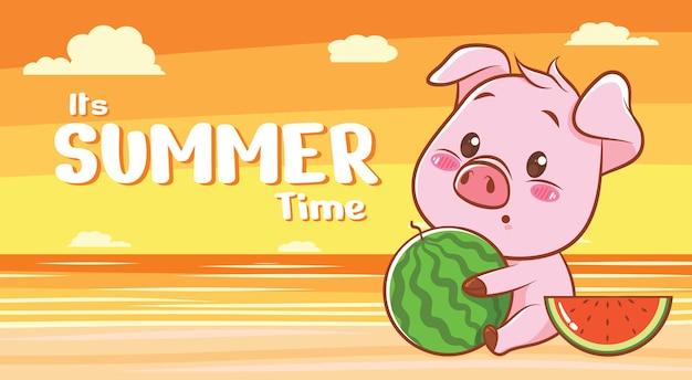 Süßes schwein, das wassermelone mit einem sommergrußbanner umarmt