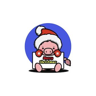 Süßes schwein, das weihnachten feiert