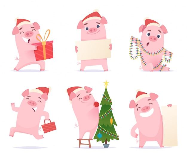 Süßes schwein. feier-karikaturmaskottchen-eberferkel-schweinecharaktere des neuen jahres 2019 in den aktionshaltungen
