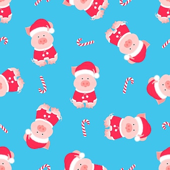 Süßes schwein in einem anzug und einer weihnachtsmannmütze mit einem flauschigen pompon. nahtloses muster der weihnachtsbonbons.