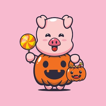 Süßes schwein mit halloween-kürbis-kostüm süße halloween-cartoon-illustration