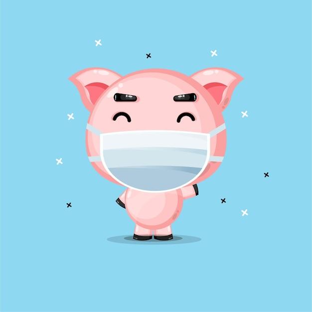 Süßes schwein mit medizinischer maske