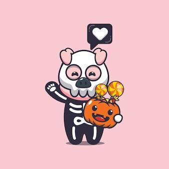 Süßes schwein mit skelettkostüm, das halloween-kürbis hält süße halloween-karikaturillustration