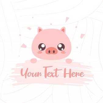 Süßes schwein mit textbrett