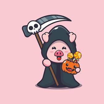 Süßes schwein sensenmann mit halloween-kürbis süße halloween-cartoon-illustration